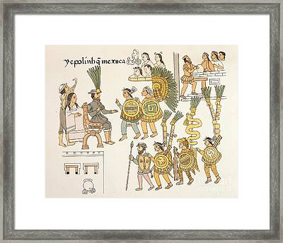 Aztec Surrender, Lienzo De Tlaxcala Framed Print by British Library
