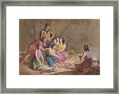 Aztec Women Making Maize Bread, Mexico Framed Print by Gallo Gallina