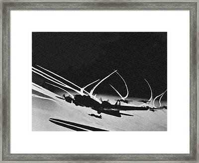 B 17 Contrails Framed Print