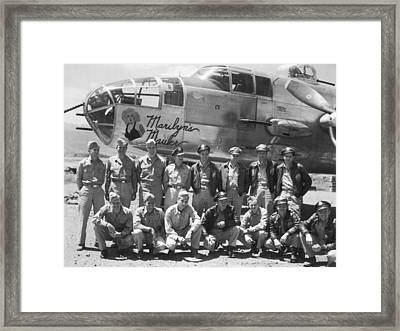 B-25 Bomber And Crew Framed Print by Underwood Archives
