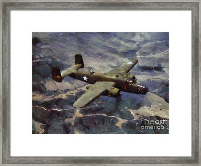 Framed Print featuring the painting B-25 Bomber by Kai Saarto