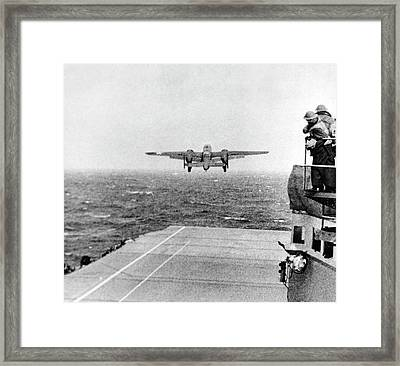 B-25 Bomber Taking Off During Wwii Framed Print