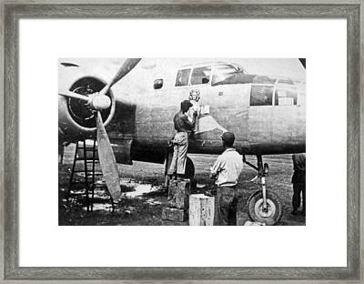 B-25 Pinup Nose Art Framed Print by Underwood Archives