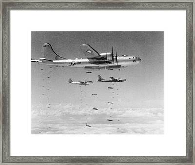 B-29s Dropping Bombs Framed Print by Underwood Archives