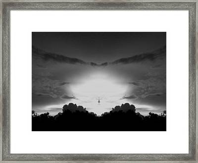 Helicopter And Stormy Sky Framed Print