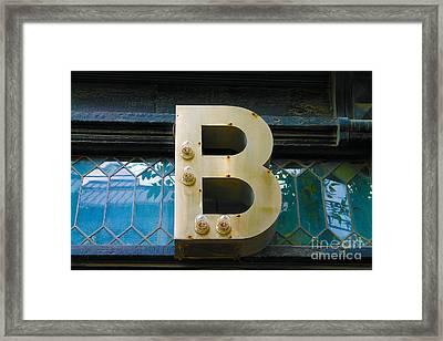 B Designing Framed Print by Nina Silver