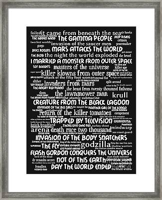 B Movies Science Fiction 20130627bw Framed Print