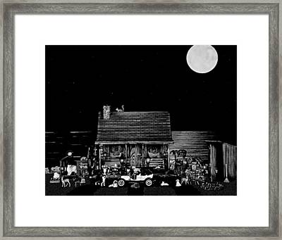 B/w Log Cabin And Outhouse Scene With The Classic Old Vintage 1908 Model T Ford Framed Print by Leslie Crotty