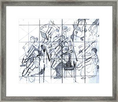 B01. Producing A Large Composition On Canvas - Initial Layout Framed Print