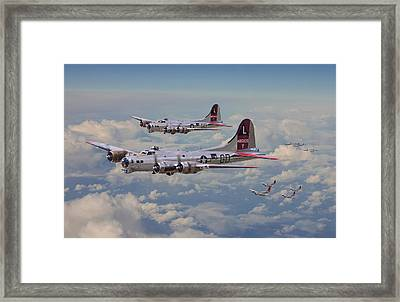 B17- 381st Bomb Group En-route Framed Print by Pat Speirs