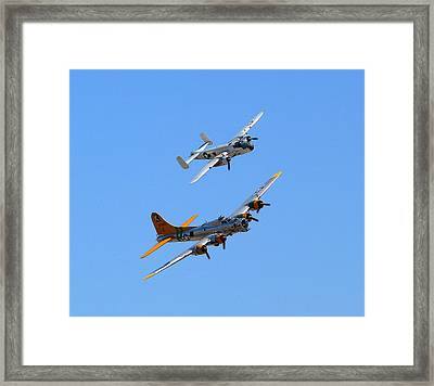 Framed Print featuring the photograph B25 Mitchell And B17 Flying Fortress by Jeff Lowe
