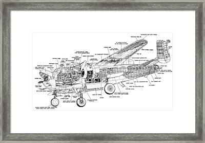 B25 Mitchell Schematic Diagram Framed Print