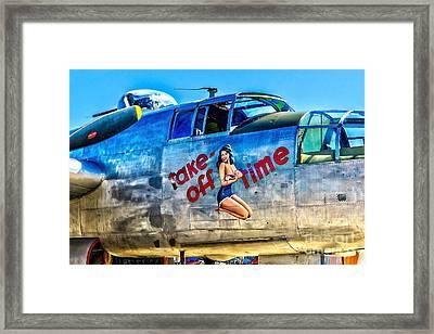 B25 Take Off Time Framed Print by Nick Zelinsky