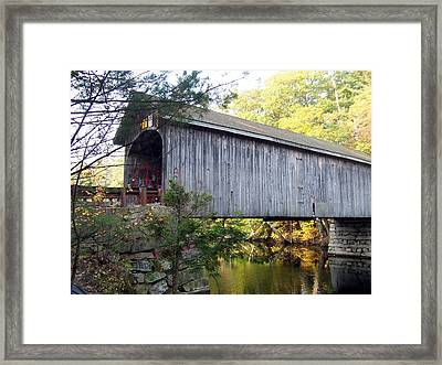Babbs Covered Bridge In Maine Framed Print by Catherine Gagne
