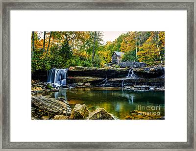 Babcock Falls As The Leaves Turn Framed Print by Mark East