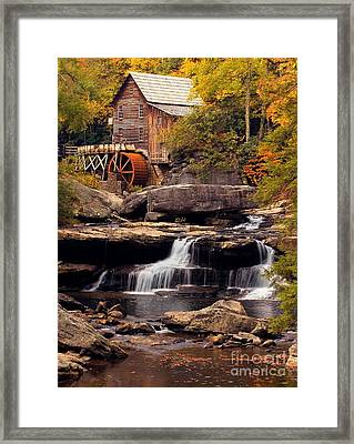 Babcock Grist Mill And Falls Framed Print by Jerry Fornarotto