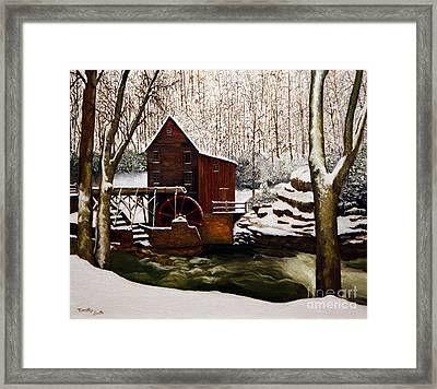 Babcock Mill In The Snow Framed Print by Timothy Smith