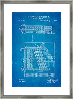 Babcock Steam Generator Patent Art 1867 Blueprint Framed Print by Ian Monk