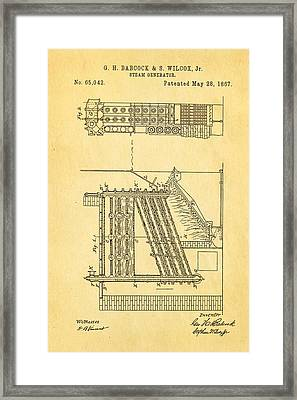 Babcock Steam Generator Patent Art 1867 Framed Print by Ian Monk