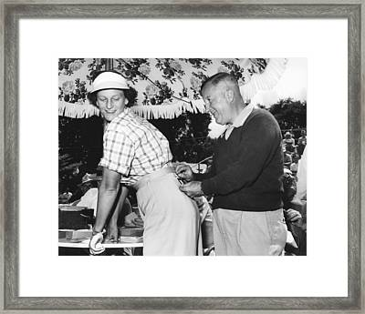 Babe Didrikson Gets Pinned Framed Print by Underwood Archives