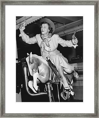 Babe Didrikson On Sidesaddle Framed Print by Underwood Archives