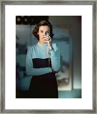 Babe Paley Wearing A Traina-norell Dress Framed Print