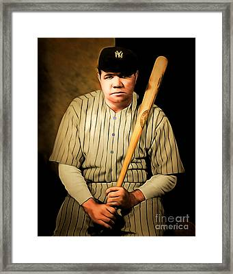 Babe Ruth 20141220 Brunaille Framed Print by Wingsdomain Art and Photography