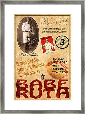 Babe Ruth Framed Print by Andrew Fare