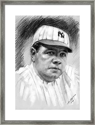 Babe Ruth Framed Print by Viola El