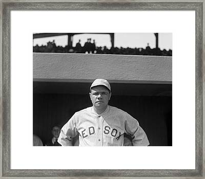 Babe Ruth In Red Sox Uniform Framed Print by Underwood Archives