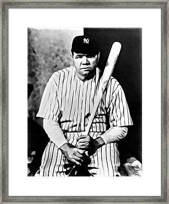 Babe Ruth Portrait Painting Framed Print by Florian Rodarte