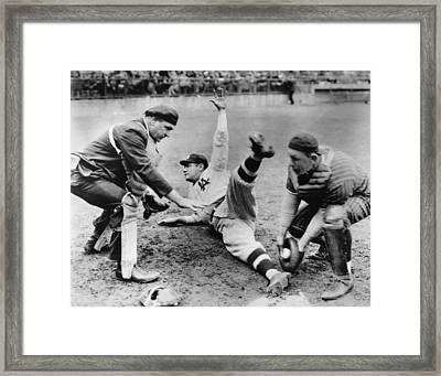 Babe Ruth Slides Home Framed Print by Underwood Archives