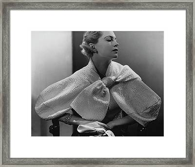 Babs Lee Wearing A Taffeta Jacket Framed Print