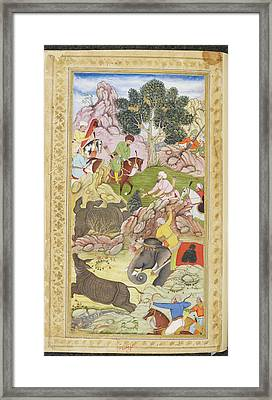 Babur And His Retinue Framed Print by British Library