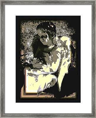 Baby Angel With Teddy Framed Print