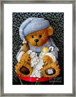 Baby Bear Ready For Christmas Framed Print by Judyann Matthews