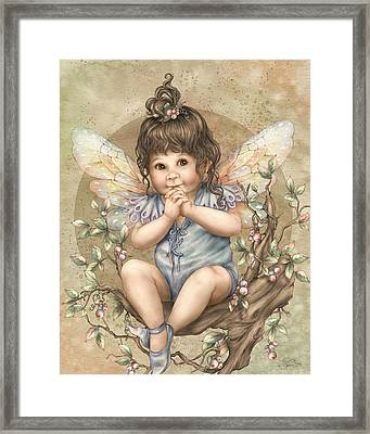 Baby Berry Fairy Framed Print by Beverly Levi-Parker