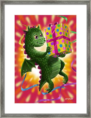 Baby Birthday Dragon With Present Framed Print by Martin Davey