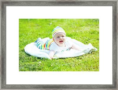 Baby Boy In A Park Framed Print by Wladimir Bulgar