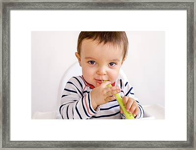 Baby Boy Playing With A Spoon Framed Print by Aj Photo