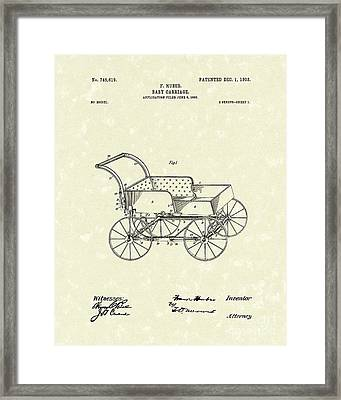 Baby Carriage 1903 Patent Art Framed Print by Prior Art Design