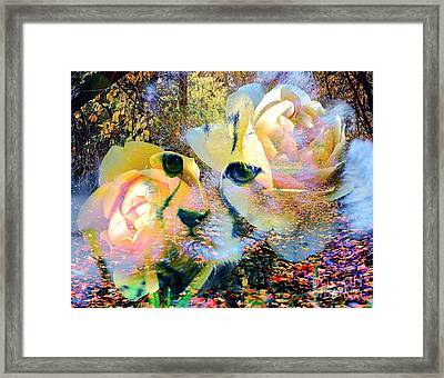 Baby Cheetah And Roses In Wilderness Framed Print by Annie Zeno