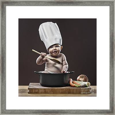 Baby Chef Framed Print by Justin Paget