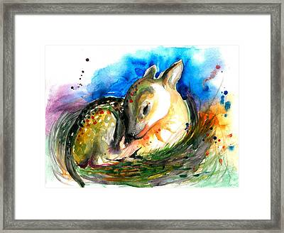 Baby Deer Sleeping - After My Original Watercolor On Heavy Paper Framed Print by Tiberiu Soos