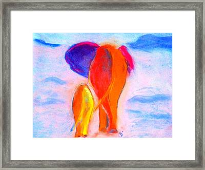 Baby Elephant And Mom Framed Print