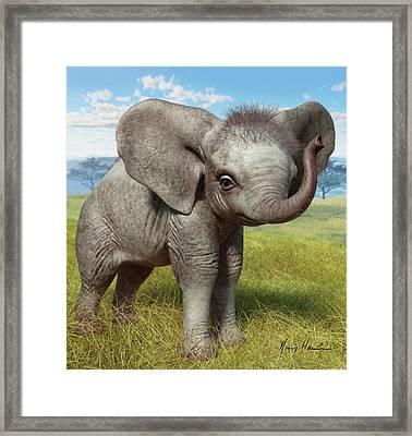 Baby Elephant Framed Print by Gary Hanna