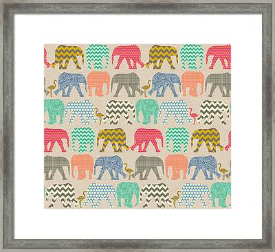 Baby Elephants And Flamingos Linen Framed Print by Sharon Turner