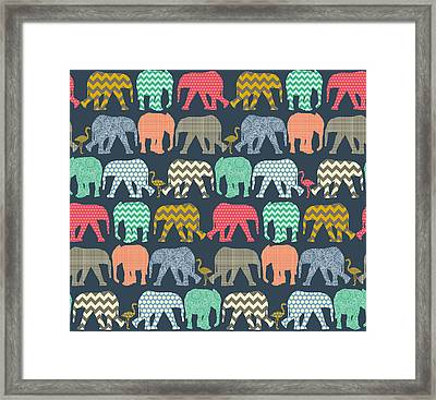 Baby Elephants And Flamingos Framed Print