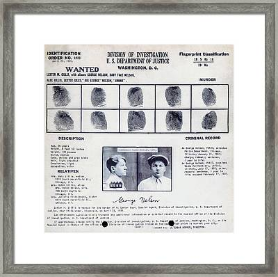 Baby Face Nelson Wanted Poster, 1934 Framed Print