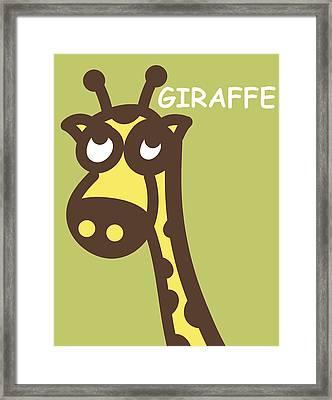 Baby Giraffe Nursery Wall Art Framed Print by Nursery Art